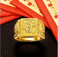 Wholesale Bridegroom Accessories - more style Get rich yellow wedding ring for men,18k gold plated marry bridegroom jewelry accessories
