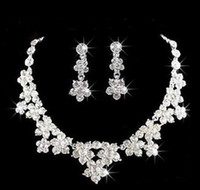 Wholesale bridal jewelery for sale - Group buy Wedding Jewelry Shining New Cheap Sets Rhinestone Bridal Jewelery Accessories Crystals Necklace and Earrings for Prom Pageant Party