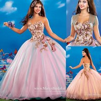 Wholesale Girls Peacock Ball Gown - Quinceanera Ball Gowns 2015 Sequins Crystals Peacock Appliques Blue Pink Organza Ragazza Sweet 16 Girls Prom Party Dresses With Jackets