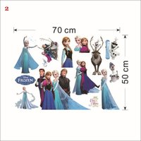 Wholesale Elsa Poster - 20pcs Mix Order Removable Elsa Frozen Wall Stickers Olaf Decoration Princess Decorative Wall Decall for Kids Rooms Poster Wall Pape Art