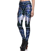2017 NUEVO 3803 Horde Feather Skull Game Cosplay Prints Sexy Girl Pencil Yoga Pantalones GYM Fitness Entrenamiento Poliéster Mujeres Leggings Más El Tamaño