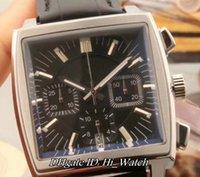 Wholesale Monaco Watches - Super Clone Monaco Calibre 12 CW2111.FC6171 Steel Case Black Dial Miyota Quartz Chronograph Mens Watch StopwatchLeather Sports Watches TG175