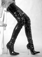 muslo tacones altos calientes al por mayor-Wonderheel ON SALE tacón alto extremo caliente 12cm tacón de aguja Botas sobre la rodilla Patente muslo botas altas sexo fetiche metal tacón botas entrepierna