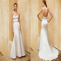 Wholesale Enzoani Beautiful Wedding Dresses - Cheap Beautiful Enzoani Wedding Dresses Sweetheart Neckline Satin Mermaid Bridal Gowns Full Length Backless Wedding Dress