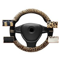 Wholesale Leopard Print Steering Wheel Covers - Universal Leopard Print Plush Car Steering Wheel Cover Keep Warm 38cm for Cars SUV DXY88