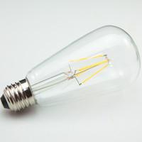 Wholesale Edison Socket - Super Brightness High Power ST64 E27 SOCKET FILAMENT EDISON LED BULB 4W 8W E27 BASE 90-240V AC 120 LM W WARM WHITE 360D CRI 80 6PCS PER LOT