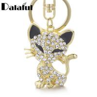Wholesale Pretty Handbags - beijia Pretty Cute Cat Enamel Crystal HandBag Keyring Keychain For Car Purse Bag Buckle key holder K168