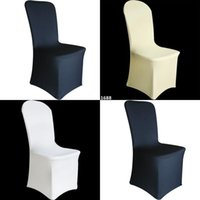 Wholesale Ivory Spandex Chair Covers - SPANDEX CHAIR COVERS Wedding Party Lycra Cover - White Ivory White UNIVERSAL FIT