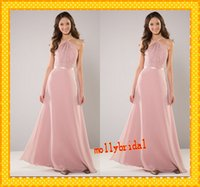 Wholesale Daffodil Ribbon - 2016 Pink Cheap Bridesmaid Dresses Applique Chiffon Ribbon Trim Sexy Open Back Sheath Forma Bridal Party Dress Wedding Gowns Blush Dress