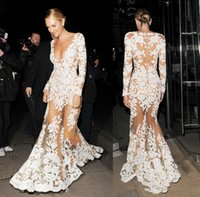 Discount lace transparent evening dress - Zuhair Murad Sheer lace evening Dresses with Deep V Neck Appliques Illusion Long Sleeves Transparent sweep prom party Dress