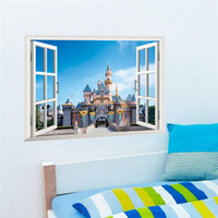 Wholesale Princess Room Decor - WHOLESALE princess castle windows wall stickers kids room decor x005. diy girls home decals cartoon mural cover art posters 5.0