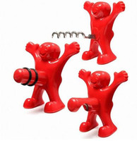 Wholesale happy plugs - Wine Stoppers New Year Beer Opener Novelty Bar Tools Wine Cork Bottle Plug Funny Happy Man Wine Stopper KKA3436