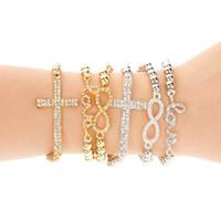 bracelets élastiques achat en gros de-Classique Amour Cross Infinity Charm Bracelets Femmes Bijoux De Mode En Or Strass Amour Bracelet Jonc Bracelet Jewellry Élasticité 6 Styles