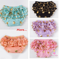 Wholesale Spot Shorts Girls - Gold Glitter Polka Dot Baby Bloomers Ruffle Bum Cake Smash Bloomer Ruffle Bum Saints Bloomer Diaper Cover with Gold Shimmer Spot Pants