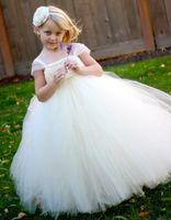 Wholesale Vestidos Festa Kids - vestidos de Festa Cheap Flower Girl's Dresses For Wedding A Line Floor Length SquareTulle Ruffles Kids pageant Gowns Communion Dress