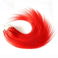 "Wholesale Micro Ring Hair Extensions Red - Wholesale --5A 16""- 24""1g s 100g pack red# Brazilian Remy Human Loop Hair Micro Ring Hair Extensions dhl free shpping"
