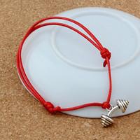 ingrosso braccialetto del barbell-Braccialetti regolabili MIC 20pcs Argento antico BARBELL Charms sollevamento pesi Bracciale regolabile nero rosso con ceralacca B-64