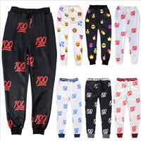 Wholesale Harem Pants Men Outfits - 2015 newest 100 emoji joggers pants white black for men boy jogger sweatpants trousers cartoon outfit harem pants men trousers