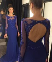 Wholesale Hot Photos Nude - Hot 2017 Royal blue Mermaid Evening Dresses Sheer Crew Neck Long Sleeves Prom Dresses Appliques Lace Beaded Sexy Open Back Party Dresses