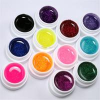 Wholesale uv false nail kit - Wholesale-Factory price fashion 12 Color Glitter UV Gel Builder False Tips Acrylic Nail Art Polish Kit Set jul31
