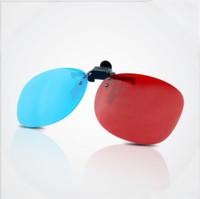 lente azul para gafas al por mayor-Venta caliente gafas con clip 3D Gafas 3D Lente Anaglyph para ver películas en 3D y juegos azul rojo envío gratis