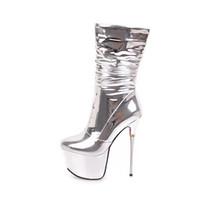 2018 inverno sexy stivali metà polpaccio Moda stivali argento mezzo stivali scarpe  per donna tacchi alti 16 cm taglia piccola 32 33 taglia grande 40-43 7304826f4f3