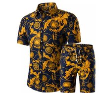 Wholesale short cardigan buttons - Men Shirts+Shorts Set New Summer Casual Printed Hawaiian Shirt Homme Short Male Printing Dress Suit Sets Plus Size