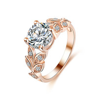 New Fashion Women Anéis de noivado Rose Gold / White Gold Color Zircon Crystal Flower Wedding Ring For Girls