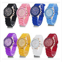 Wholesale Shadow Style Geneva - Fashion Casual Shadow style Rose-Gold Colorful women men Geneva Watch Rubber Silicon Candy Jelly Silicone Quartz wrist Watches free shipping