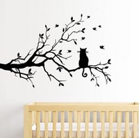 Wholesale Tree Branch Wall Decals Removable - High Quality for Cat On Long Tree Branch DIY Vinyl Wall Sticker Decals Wall Art Mural Home Decor Window Kitchen Wallpaper