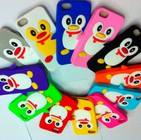 Wholesale Iphone5 Cute - 3D Penguin Silicone Case Soft Back Cover Colorful Cute Skin Cover for iPhone 5 5G iPhone5