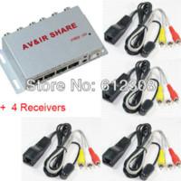 Wholesale Tv Av Sender Receiver - NB401 Wired AV TV Video Audio Transmitter Sender Receiver IR Infrared Repeater Extender Adapter with 1 Emitter 4 Receiver