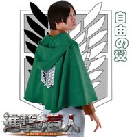 Wholesale Attack Titan Eren Cosplay - Free Shipping Attack on Titan Eren Jaeger The Recon Corps Wings of Freedom Cloak Anime Cosplay Costume