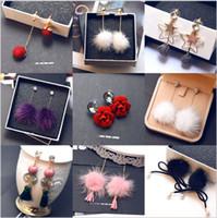 Wholesale Wholesale Mink Flowers - Korean style new style mink hair long lovable earring hair ball earrings wholesale