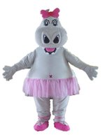 Wholesale Grey Hippo Costume - SW0411 adult grey hippo mascot costume in tutu for adult to wear
