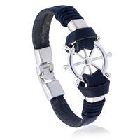 ingrosso gioielli del timone della nave-Il nuovo timone dell'acciaio inossidabile più il braccialetto tessuto degli uomini del braccialetto tessuto genuino fatto a mano DIY libera il trasporto libero