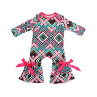 Wholesale Retail Jumpsuits - Retail Baby Rompers Long Sleeve Baby Girls Soft Jumpsuit Newborn Cotton Outfit Ruffle Boy Girls Clothes with Bow