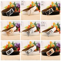 Wholesale Western Floral Belt Buckle - Women Diamond Leather Belt Waistband with Gold Sliver Double Heart Automatic Buckle Waist Belt Western Cowgirl Belts LJJO3531