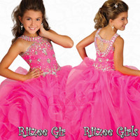 Wholesale Stunning Princess Prom Dresses - Stunning Crystal Girls Pageant Dresses with Beaded Halter Organza Ruffles Floor Length Pink Party Prom Gowns Glitz Little Flower Girls Dress