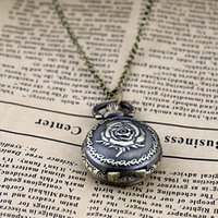 Wholesale Rose Pocket Watch - Classic Cute Men Fashion Jewelry Rose Steampunk Vintage Pendent Pocket Watch Long Chains Watch