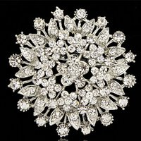 Wholesale Cheap Brooches For Wedding Bouquets - 2.4 Inch Large Round Flower Clar Diamante Crystal Bridal Bouquet Brooch For Wedding Cheap Price Jewelry Wholesale Vintage Rhodium Plated Pin