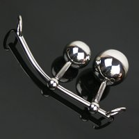 Wholesale double plug chastity - Stainless Steel Sex Toys Butt Plugs Anal Plug Chastity Devices Female Chastity Belt Vaginal Anal Double Balls Anal Beads Strapon Slave BDSM