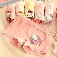 Wholesale Girls Lace Boxer Shorts - Cartoon Hello Kitty Baby Cute Kids Underwear Children's Boxers Girls Lace Pattern Shorts Pants Cotton Panty Fashion Summer Clothing S-XXL