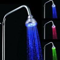 Wholesale Shower Set Temperature - Gorgeous Rainbow LED Shower Heads 3 color Temperature Sensitive Color Change Rain Head Shower Sets Top Quality
