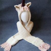 Wholesale cartoon children scarves wraps online - With Tassels Scarf Hat For Child Animal Unicorn Neck Wrap Beanie Winter Protection Cloak Cap Cartoon Chunky za B