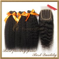 Wholesale top brazilian virgin hair natural color kinky straight coarse yaki hair weave with pc lace top closure
