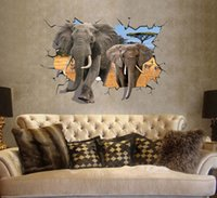Wholesale Free Wallpaper Designs - Free Shipping Large 3D Elephant Wall Stickers Removable Vinyl Art Decals Room Home Decors Wall Decals Wallpaper 70*100cm