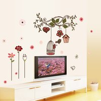 Venda quente DIY Flores dos desenhos animados Bird Cage Vine parede Sticke Adesivos Wallpaper Art Decor Mural Beautiful Room decalque decalques etiqueta f