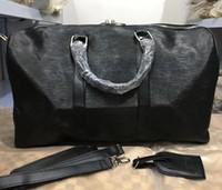 Wholesale single strap man bags - classic Top quality lady genuine oxid Leather speedy 45cm men's travel bag handbag with shoulder strap purse tote bag