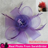 Wholesale Cheap Christmas Party Decorations - Cheap Vintage Hair Accessories Feather Organza Mini Fascinator Hats Decoration For Women Bridesmaid Wedding Tea Party Halloween Christmas